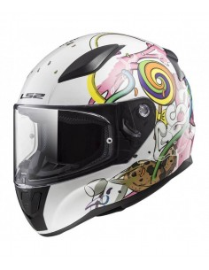 Casco LS2 FF353J Rapid Mini Crazy Pop | Blanco y rosa