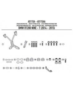 Kit Anclajes Givi A5115A Para Cúpula Givi A800N BMW R Nine T (14-17)