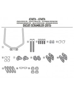 Kit Anclajes Cúpula Givi A7407A Ducati Scrambler 800 / 400 (15-17)