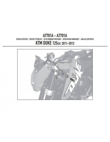 Kit Anclajes Givi A7701A KTM Duke 125 / 200 / 390 (11-16)