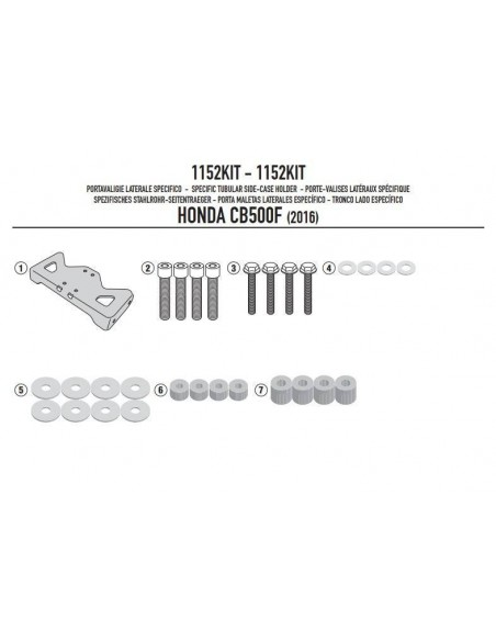 Kit Anclajes Porta Maletas Givi 1152KIT Honda CB 500 F (16-17)