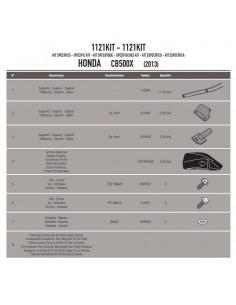 Kit Anclajes Porta Maleta Lateral Givi 1121KIT Honda CB 500 X (13-18)