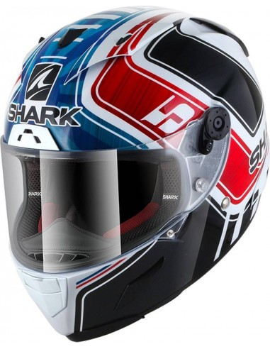 Casco Shark Race-R Pro Réplica Zarco GP de France | Blanco - azul - rojo