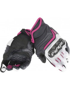 Guantes Dainese Carbon D1 Short Lady Negros-blancos-fucsia