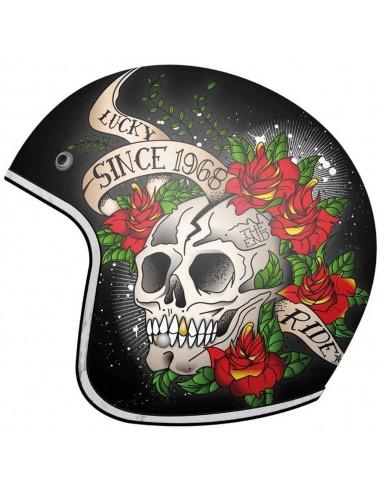 Casco MT Le Mans 2 SV Skull & Roses A1 | Rojo