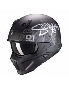 Casco Scorpion Covert-X XBORG | Mate-Negro y plata