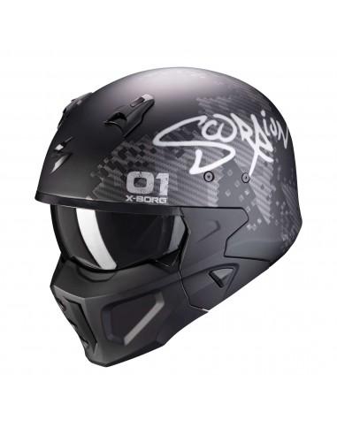 Casco Scorpion Covert-X XBORG | Mate-Negro y plata
