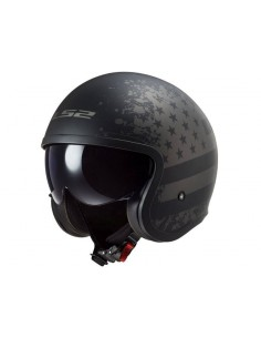 Casco LS2 OF599 Spitfire Black Flag | Mate-Negro y titanio