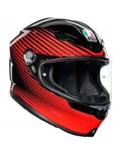Casco AGV K6 Rush   Negro y rojo