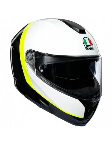 Casco AGV Sportmodular Ray | Carbono-blanco-amarillo fluor
