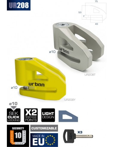 Amarillo Urban Security UR208Y Candado Antirrobo Disco /ø10 fabricado en Europa