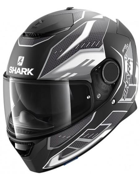 Casco Shark Spartan Antheon Mate   Negro y blanco   HE3436KWK