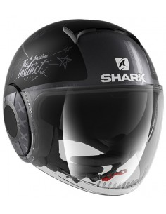 Casco Shark Nano Tribute RM Mate | Mate-Negro-antracita-plata | HE2852KAS