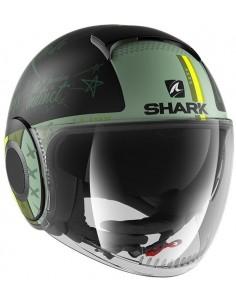 Casco Shark Nano Tribute RM Mate | Mate-Negro y verde | HE2852KGG
