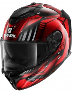 Casco Shark Spartan GT Replikan | Negro-cromo-rojo KUR