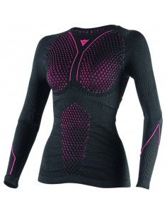 Camiseta Térmica Dainese D-Core Thermo LS Lady | Negro y fucsia