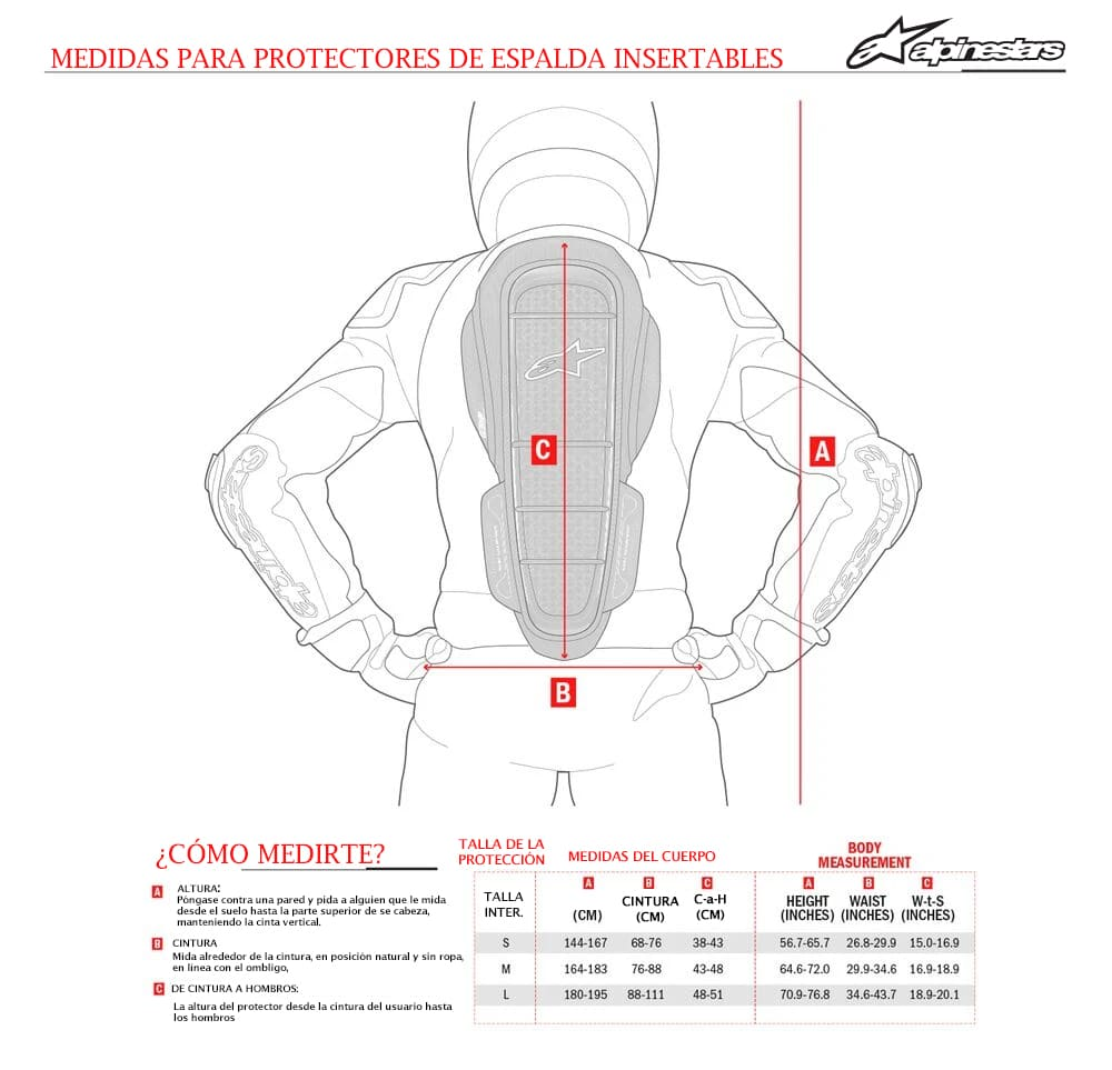 Guia de tallas protectores de espalda inserto