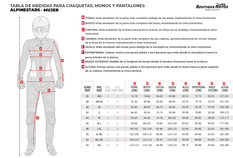 Guía de tallas Alpinestars Mujer